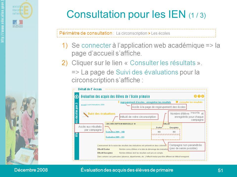 Décembre 2008Évaluation des acquis des élèves de primaire 51 Consultation pour les IEN (1 / 3) 1)Se connecter à lapplication web académique => la page