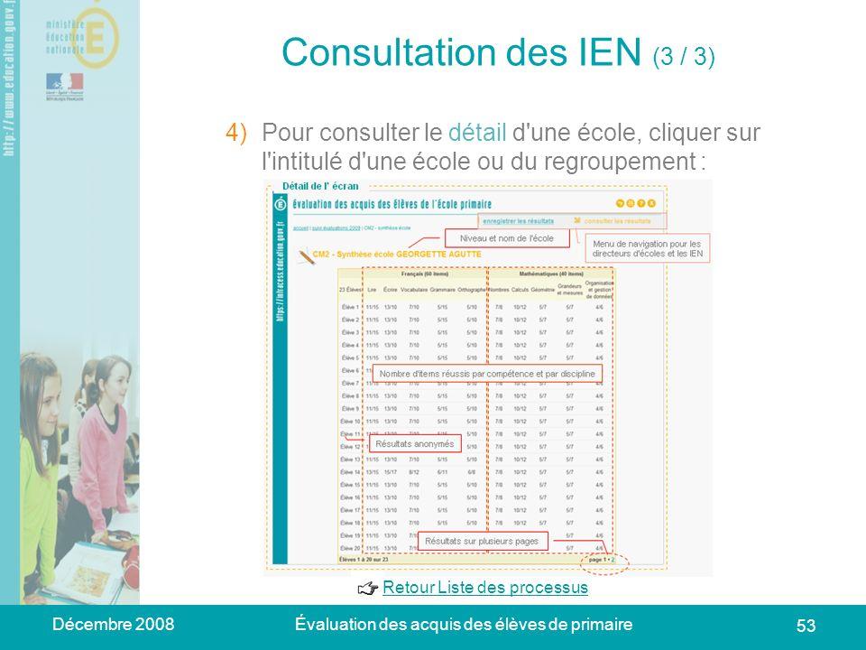 Décembre 2008Évaluation des acquis des élèves de primaire 53 Consultation des IEN (3 / 3) 1)Se connecter à lapplication web académique => la page dacc