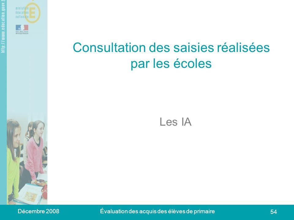 Décembre 2008Évaluation des acquis des élèves de primaire 54 Consultation des saisies réalisées par les écoles Les IA