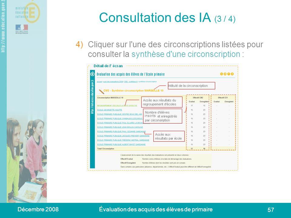 Décembre 2008Évaluation des acquis des élèves de primaire 57 Consultation des IA (3 / 4) 1)Se connecter à lapplication web académique => la page daccu