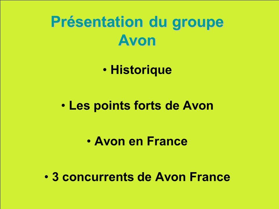 Présentation du groupe Avon Historique Les points forts de Avon Avon en France 3 concurrents de Avon France