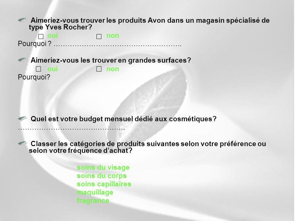 Aimeriez-vous trouver les produits Avon dans un magasin spécialisé de type Yves Rocher? ouinon Pourquoi ? ………………………………………………. Aimeriez-vous les trouve