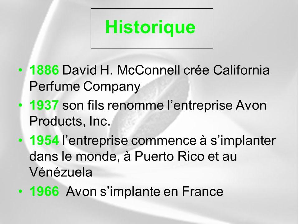 Historique 1886 David H. McConnell crée California Perfume Company 1937 son fils renomme lentreprise Avon Products, Inc. 1954 lentreprise commence à s