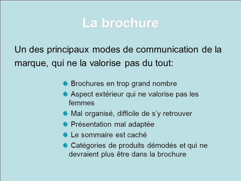La brochure Un des principaux modes de communication de la marque, qui ne la valorise pas du tout: Brochures en trop grand nombre Aspect extérieur qui
