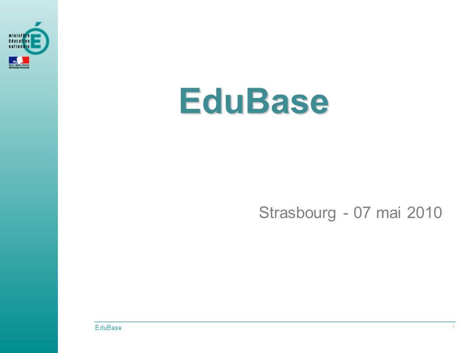 EduBase 2 EduBase Strasbourg - 07 mai 2010 Point actuel Les travaux menés cette année Un nouvel outil danalyse Le projet VocabNomen