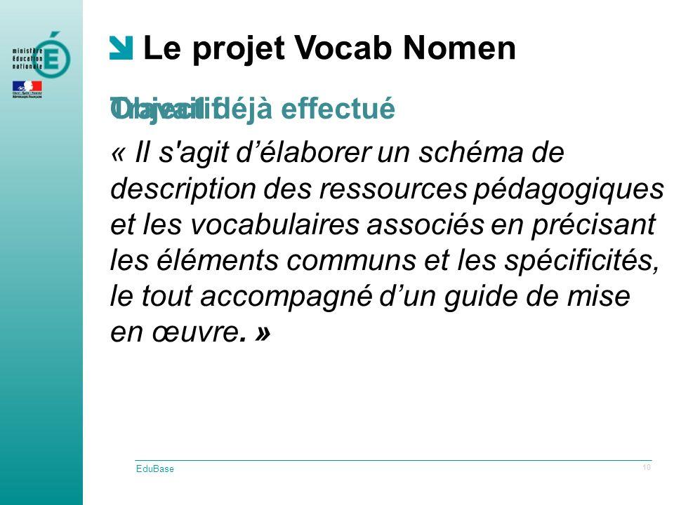 Travail déjà effectué Le projet Vocab Nomen EduBase 10 Objectif « Il s agit délaborer un schéma de description des ressources pédagogiques et les vocabulaires associés en précisant les éléments communs et les spécificités, le tout accompagné dun guide de mise en œuvre.