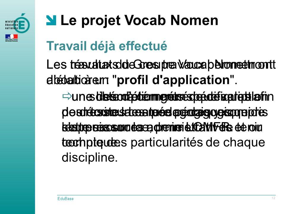 Travail déjà effectué Le projet Vocab Nomen EduBase 12 Les résultats de ces travaux permettront délaborer : une liste d éléments spécifiques afin de décrire la nature pédagogique de cette ressource, permettant de tenir compte des particularités de chaque discipline.