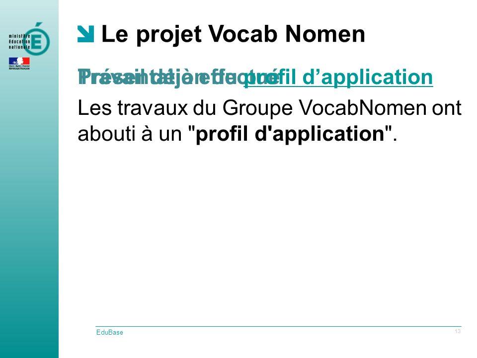 Travail déjà effectué Le projet Vocab Nomen EduBase 13 Présentation du profil dapplicationprofil dapplication Les travaux du Groupe VocabNomen ont abouti à un profil d application .