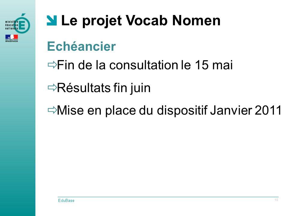 Le projet Vocab Nomen EduBase 16 Fin de la consultation le 15 mai Résultats fin juin Mise en place du dispositif Janvier 2011 Echéancier