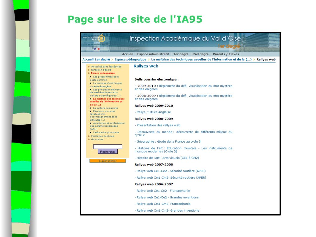 Page sur le site de l'IA95