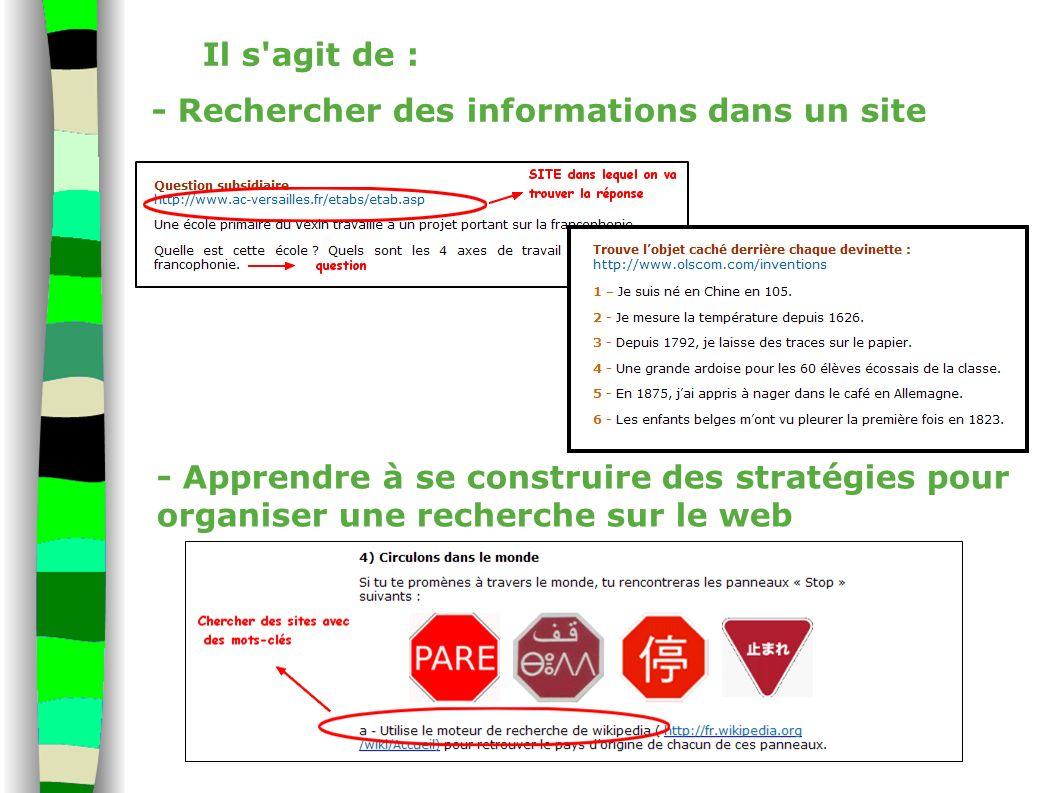 Il s'agit de : - Rechercher des informations dans un site - Apprendre à se construire des stratégies pour organiser une recherche sur le web