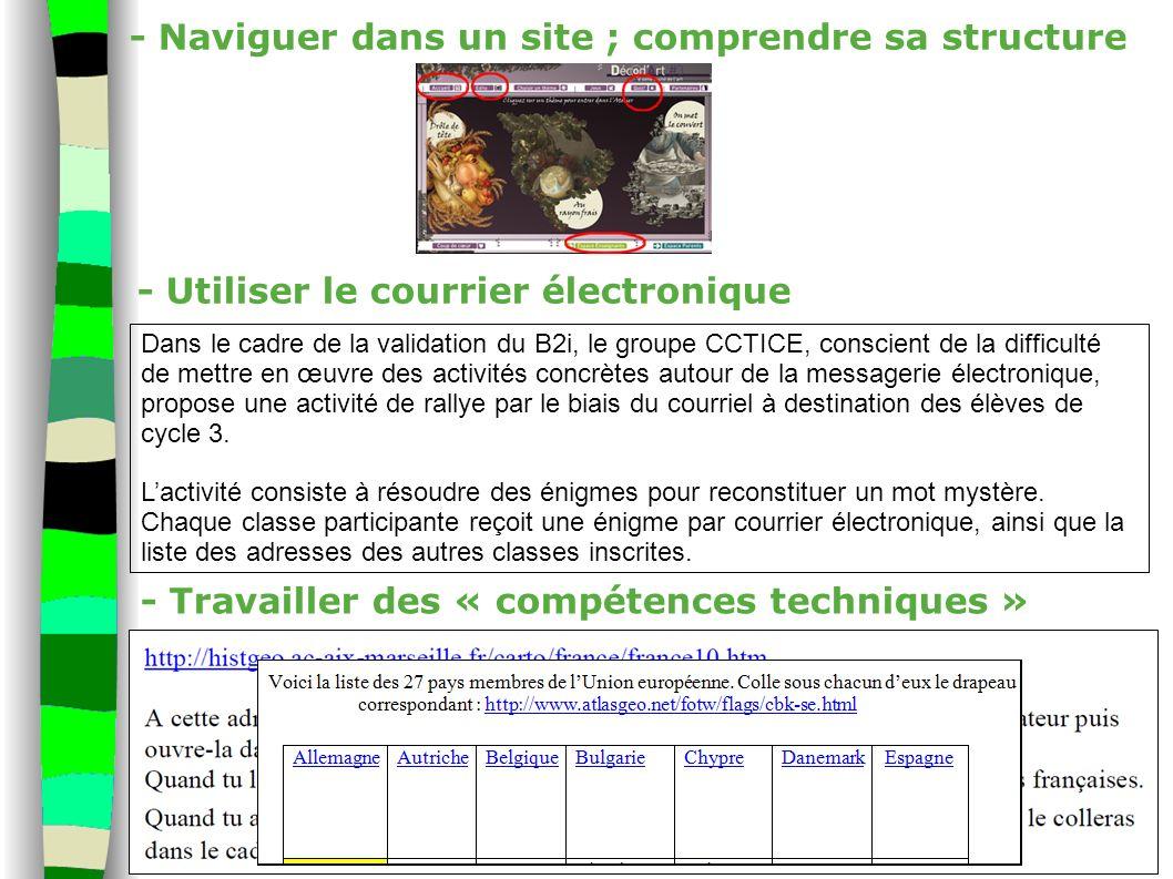 - Naviguer dans un site ; comprendre sa structure - Utiliser le courrier électronique - Travailler des « compétences techniques » Dans le cadre de la