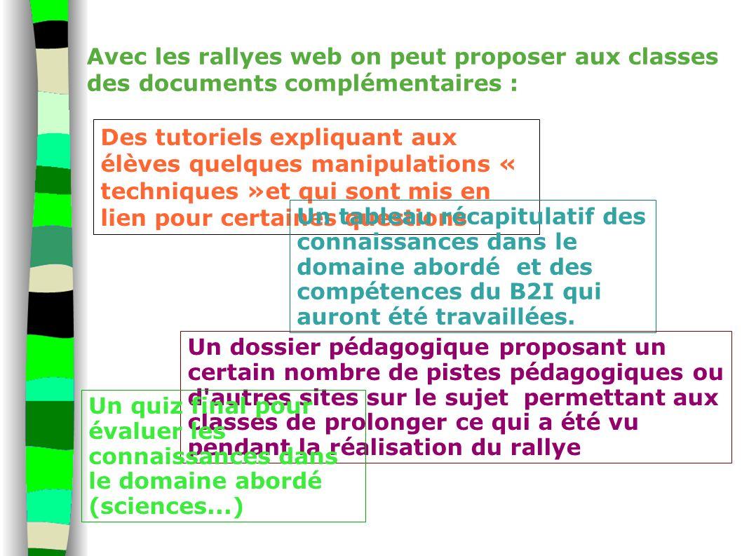 Avec les rallyes web on peut proposer aux classes des documents complémentaires : Des tutoriels expliquant aux élèves quelques manipulations « techniq