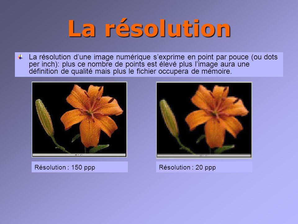 La résolution La résolution dune image numérique sexprime en point par pouce (ou dots per inch): plus ce nombre de points est élevé plus limage aura une définition de qualité mais plus le fichier occupera de mémoire.