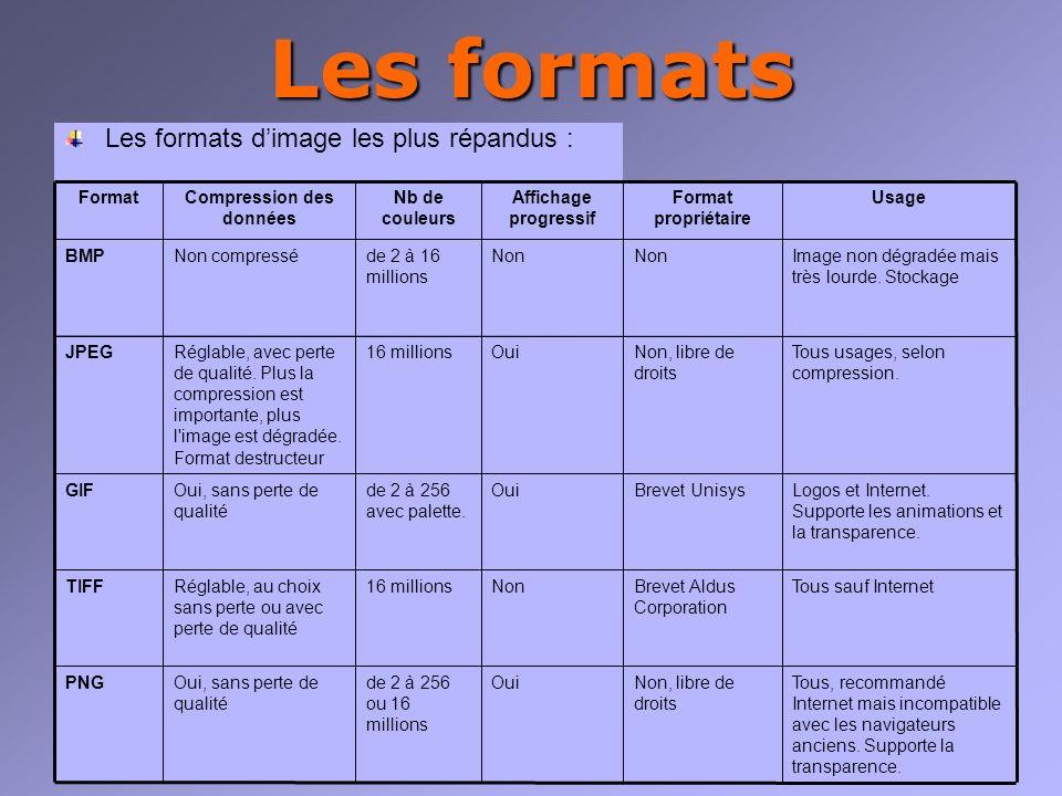 Les formats Les formats dimage les plus répandus : Tous, recommandé Internet mais incompatible avec les navigateurs anciens.