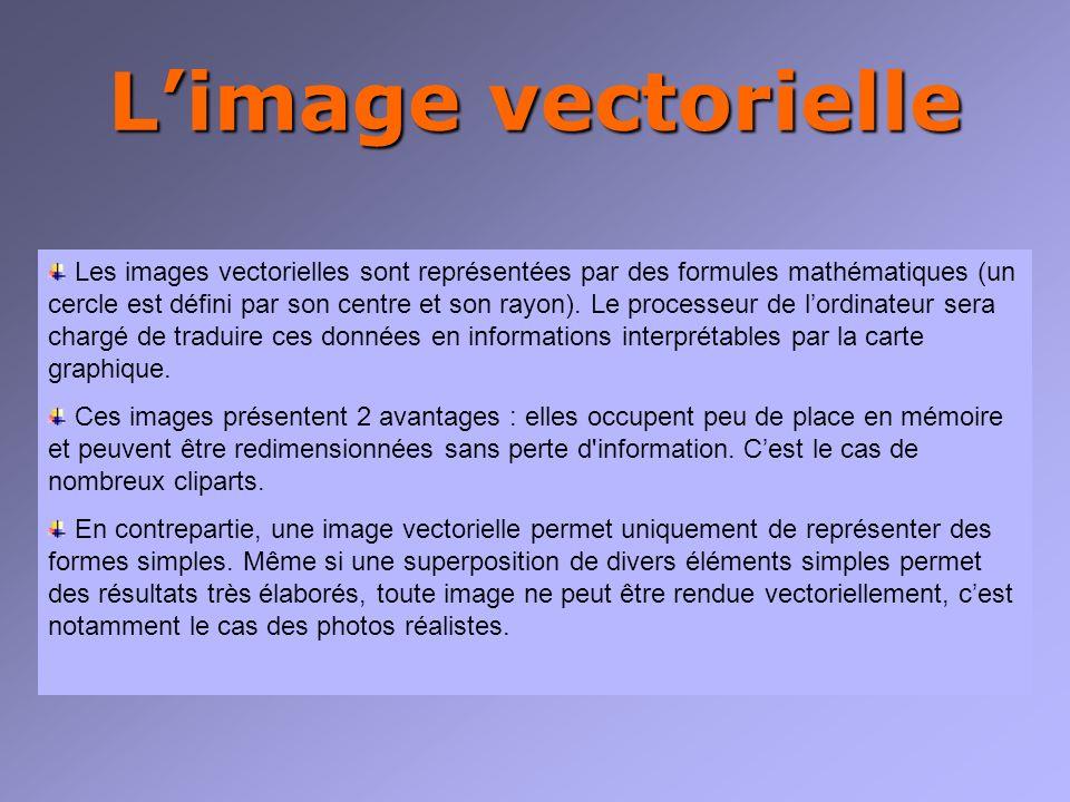 Limage vectorielle Les images vectorielles sont représentées par des formules mathématiques (un cercle est défini par son centre et son rayon).