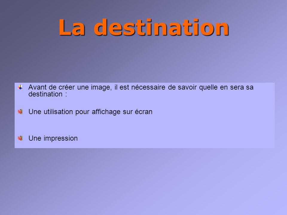 La destination Avant de créer une image, il est nécessaire de savoir quelle en sera sa destination : Une utilisation pour affichage sur écran Une impression