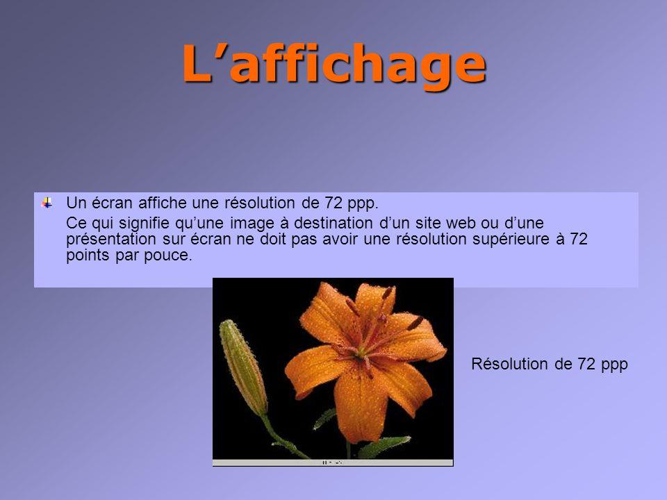 Laffichage Un écran affiche une résolution de 72 ppp.