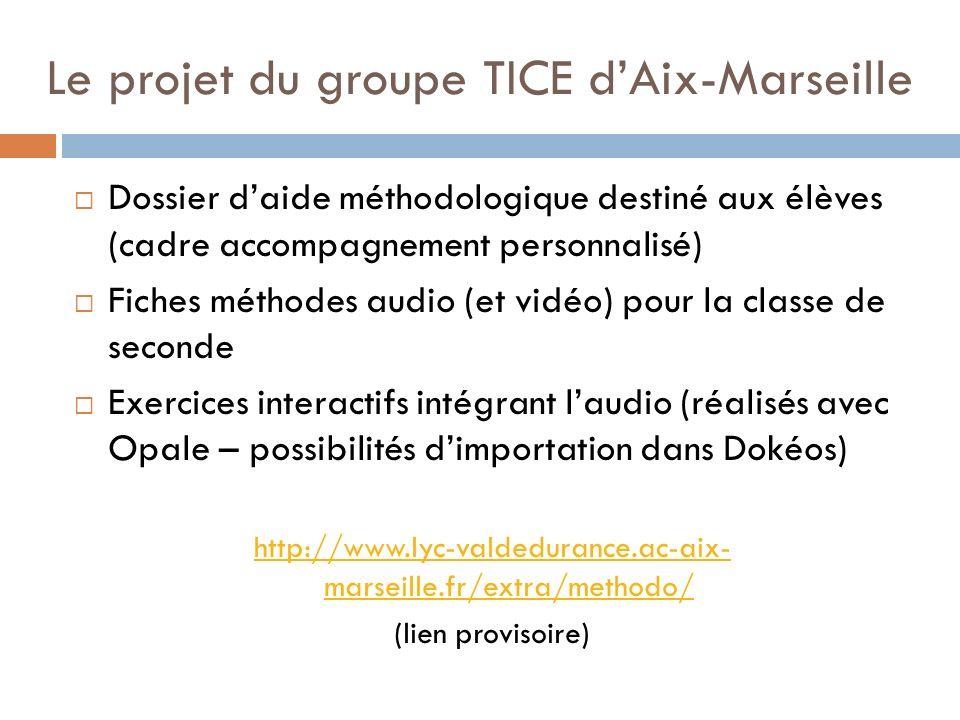 Le projet du groupe TICE dAix-Marseille Dossier daide méthodologique destiné aux élèves (cadre accompagnement personnalisé) Fiches méthodes audio (et