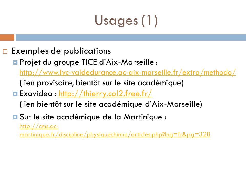 Usages (1) Exemples de publications Projet du groupe TICE dAix-Marseille : http://www.lyc-valdedurance.ac-aix-marseille.fr/extra/methodo/ (lien provis