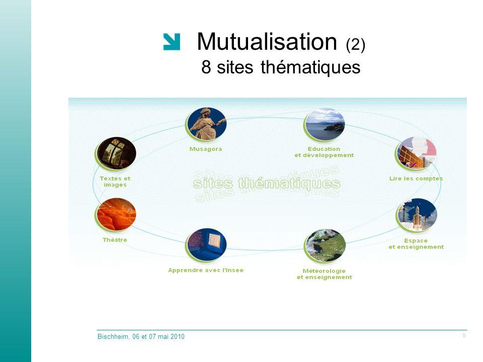 Mutualisation (2) 8 sites thématiques Bischheim, 06 et 07 mai 2010 9