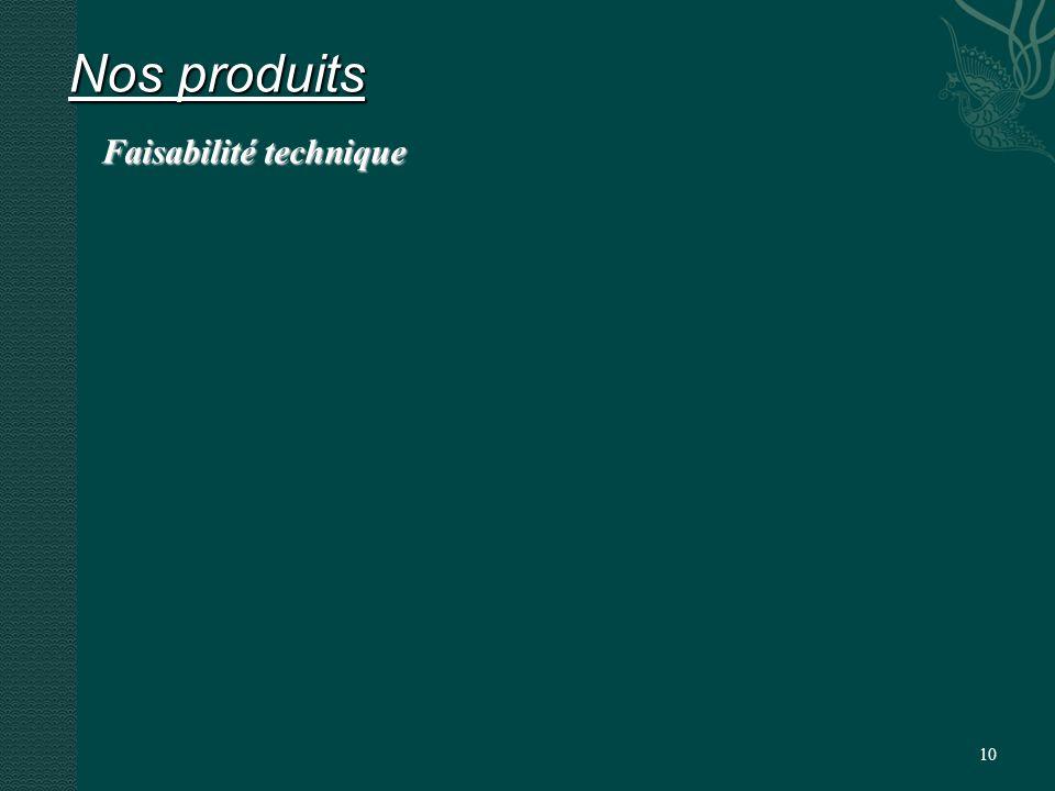 10 Nos produits Faisabilité technique