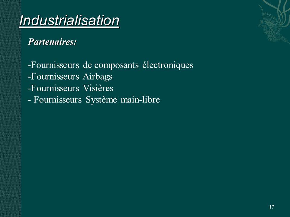 17 Industrialisation Partenaires: -Fournisseurs de composants électroniques -Fournisseurs Airbags -Fournisseurs Visières - Fournisseurs Système main-libre
