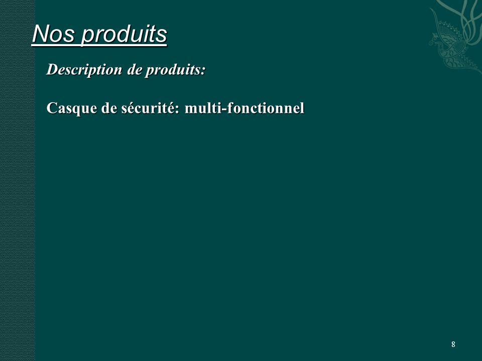 8 Nos produits Description de produits: Casque de sécurité: multi-fonctionnel