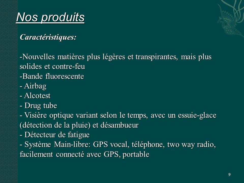 9 Nos produits Caractéristiques: -Nouvelles matières plus légères et transpirantes, mais plus solides et contre-feu -Bande fluorescente - Airbag - Alcotest - Drug tube - Visière optique variant selon le temps, avec un essuie-glace (détection de la pluie) et désambueur - Détecteur de fatigue - Système Main-libre: GPS vocal, téléphone, two way radio, facilement connecté avec GPS, portable