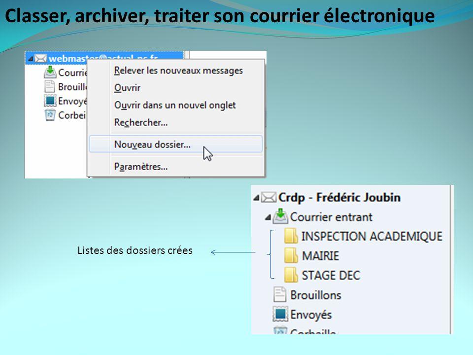 Classer, archiver, traiter son courrier électronique Listes des dossiers crées