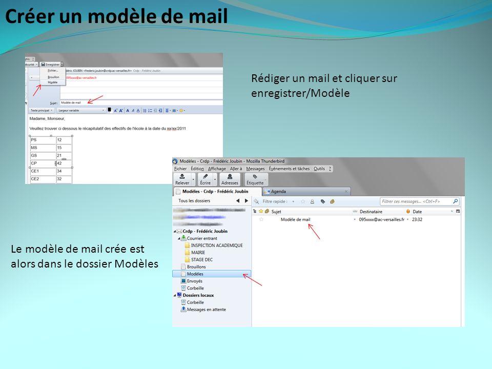 Créer un modèle de mail Rédiger un mail et cliquer sur enregistrer/Modèle Le modèle de mail crée est alors dans le dossier Modèles
