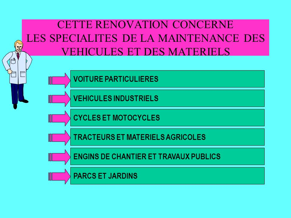 BEP MAINTENANCE DES VEHICULES ET DES MATERIELS BEP MAINTENANCE DES VEHICULES ET DES MATERIELS Voitures particulières Véhicules Industriels Motocycles Matériels de TP et de Manutention Matériels de parcs et jardins Tracteurs et Matériels Agricoles Le BEP MVM est composé de 6 DOMINANTES Ce sont les spécificités des véhicules, engins, ou matériels ainsi que les situations professionnelles qui font émerger la dominante