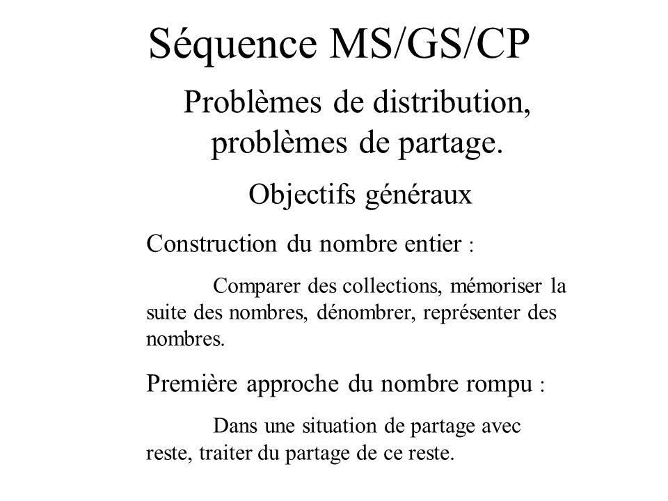Séquence MS/GS/CP Problèmes de distribution, problèmes de partage. Objectifs généraux Construction du nombre entier : Comparer des collections, mémori