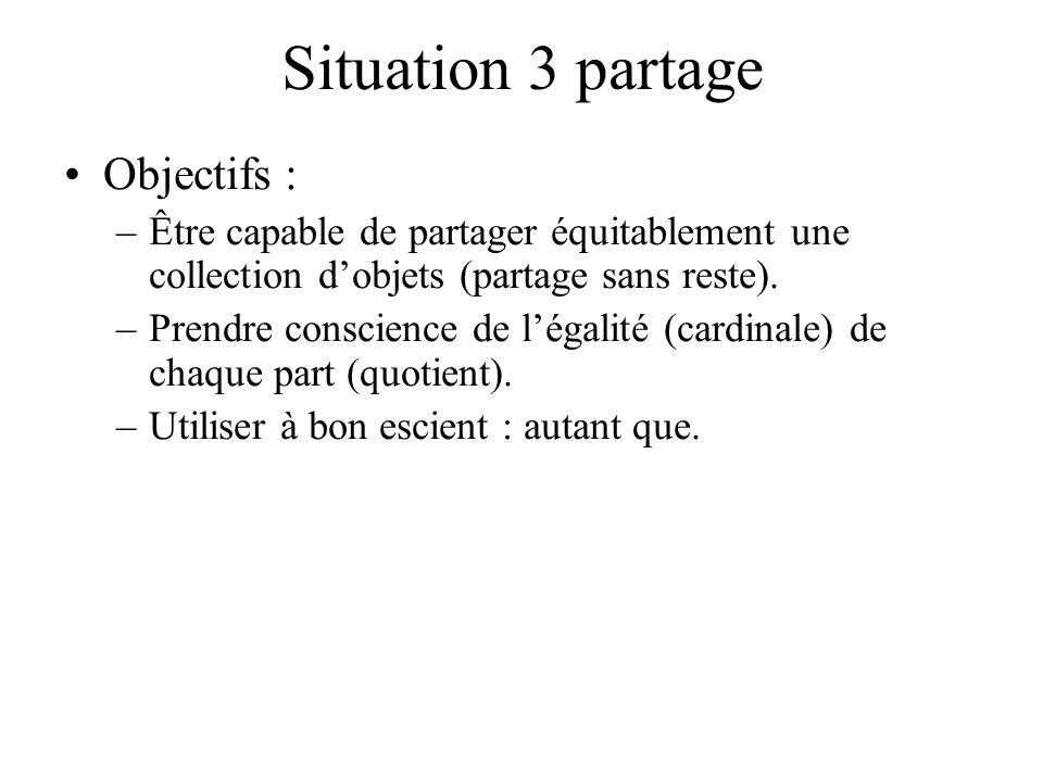 Situation 3 partage Objectifs : –Être capable de partager équitablement une collection dobjets (partage sans reste). –Prendre conscience de légalité (