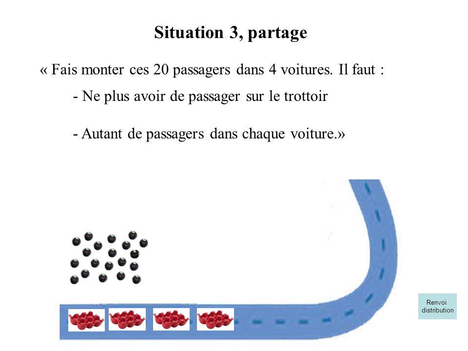 « Fais monter ces 20 passagers dans 4 voitures. Il faut : Situation 3, partage - Ne plus avoir de passager sur le trottoir - Autant de passagers dans