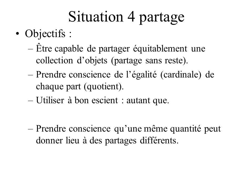 Situation 4 partage Objectifs : –Être capable de partager équitablement une collection dobjets (partage sans reste). –Prendre conscience de légalité (