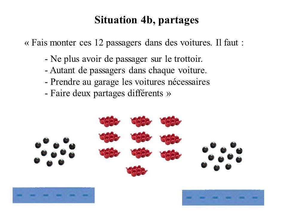 « Fais monter ces 12 passagers dans des voitures. Il faut : Situation 4b, partages - Ne plus avoir de passager sur le trottoir. - Autant de passagers