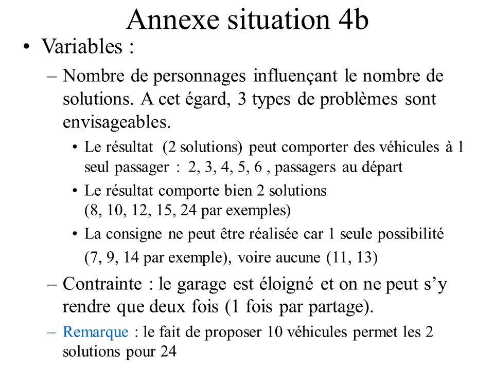 Annexe situation 4b Variables : –Nombre de personnages influençant le nombre de solutions. A cet égard, 3 types de problèmes sont envisageables. Le ré