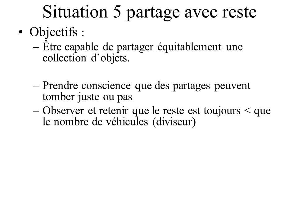 Situation 5 partage avec reste Objectifs : –Être capable de partager équitablement une collection dobjets. –Prendre conscience que des partages peuven