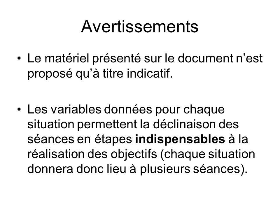 Avertissements Le matériel présenté sur le document nest proposé quà titre indicatif. Les variables données pour chaque situation permettent la déclin