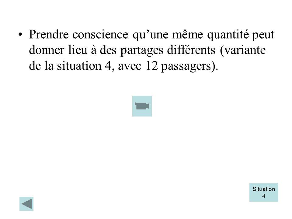 Prendre conscience quune même quantité peut donner lieu à des partages différents (variante de la situation 4, avec 12 passagers). Situation 4