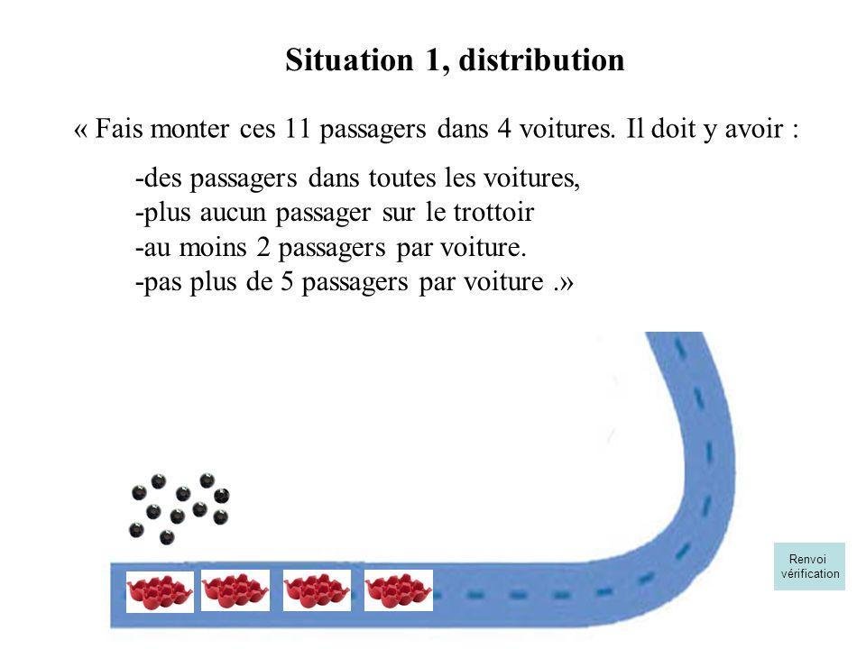 « Fais monter ces 11 passagers dans 4 voitures. Il doit y avoir : Situation 1, distribution -des passagers dans toutes les voitures, -plus aucun passa
