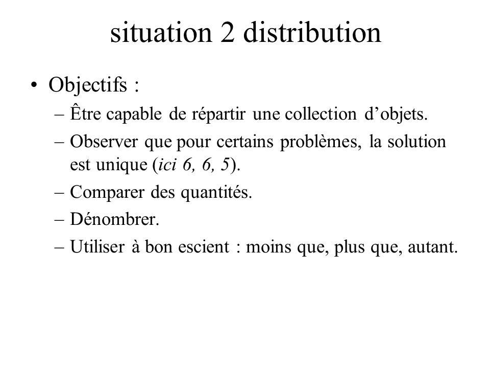 situation 2 distribution Objectifs : –Être capable de répartir une collection dobjets. –Observer que pour certains problèmes, la solution est unique (