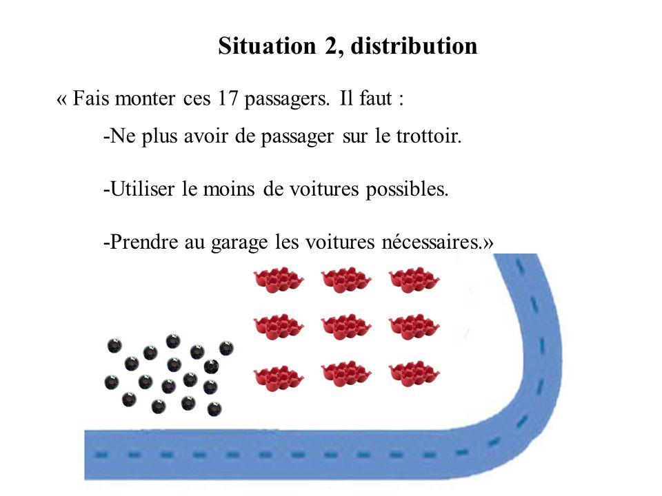 « Fais monter ces 17 passagers. Il faut : Situation 2, distribution -Ne plus avoir de passager sur le trottoir. -Utiliser le moins de voitures possibl