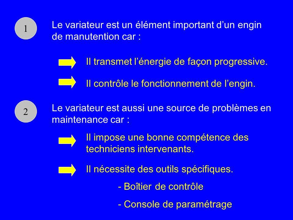1 Le variateur est un élément important dun engin de manutention car : Il transmet lénergie de façon progressive. Il contrôle le fonctionnement de len