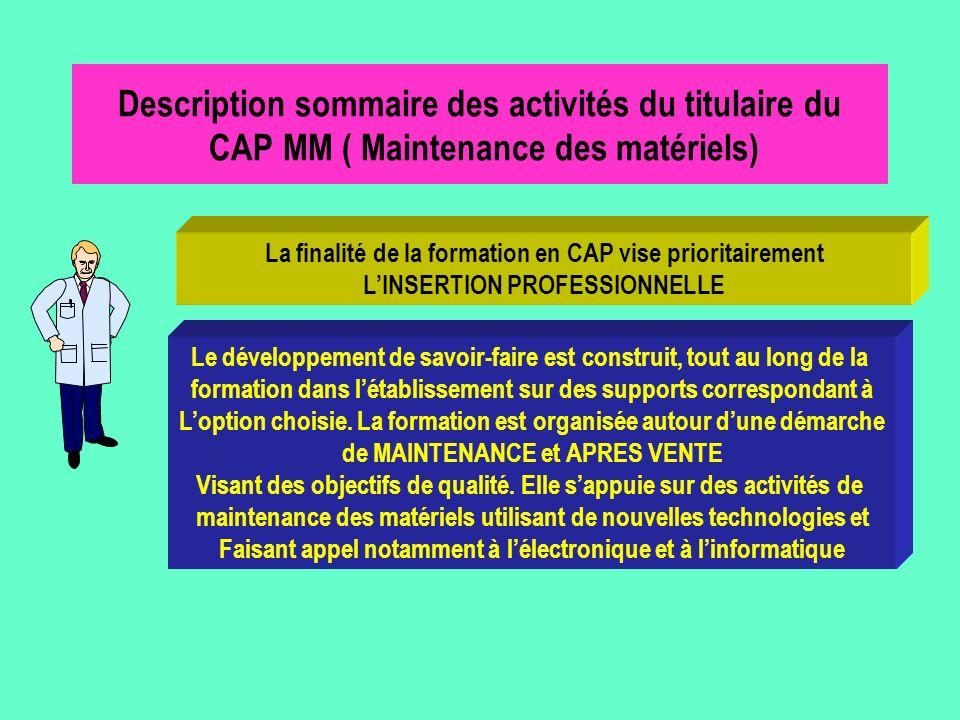 Description sommaire des activités du titulaire du CAP MM ( Maintenance des matériels) La finalité de la formation en CAP vise prioritairement LINSERT