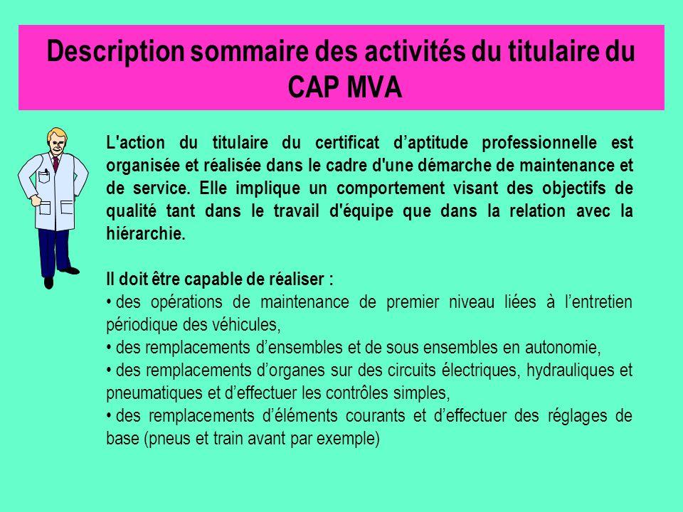 Description sommaire des activités du titulaire du CAP MVA L'action du titulaire du certificat daptitude professionnelle est organisée et réalisée dan