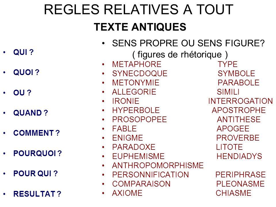 REGLES RELATIVES A TOUT TEXTE ANTIQUES QUI .QUOI .
