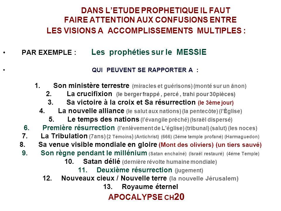 DANS LETUDE PROPHETIQUE IL FAUT FAIRE ATTENTION AUX CONFUSIONS ENTRE LES VISIONS A ACCOMPLISSEMENTS MULTIPLES : PAR EXEMPLE : Les prophéties sur le MESSIE QUI PEUVENT SE RAPPORTER A : 1.Son ministère terrestre (miracles et guérisons) (monté sur un ânon) 2.