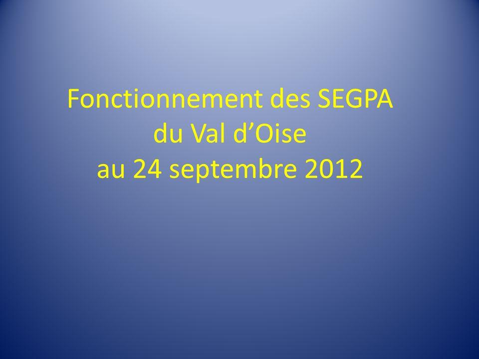 Fonctionnement des SEGPA du Val dOise au 24 septembre 2012